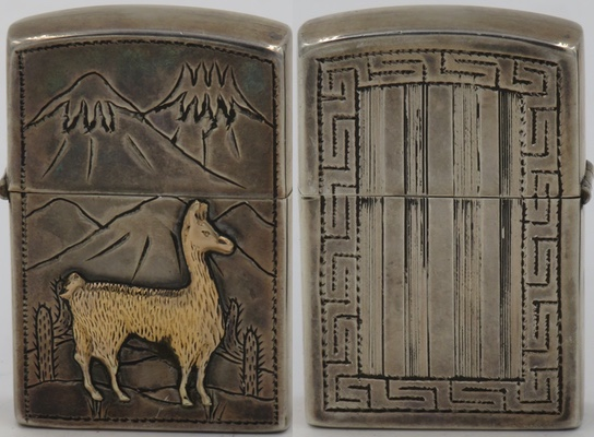 """925 Sterling Silver lighter made in Peru marked """"A Garcia"""" with gold llama, cacti and the Andes on one side and ornate design on the other"""