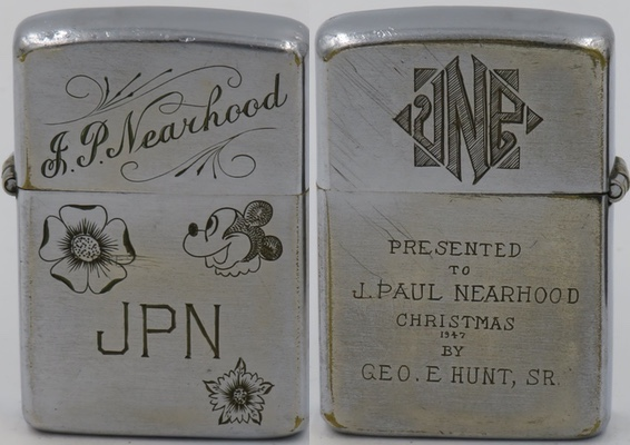 Interesting 1947 Zippo presented to J. Paul Nearhood by Geo. E. Hunt Sr. Christmas 1947.  The two-sided Zippo has several initial and graphics of flowers and Mickey Mouse