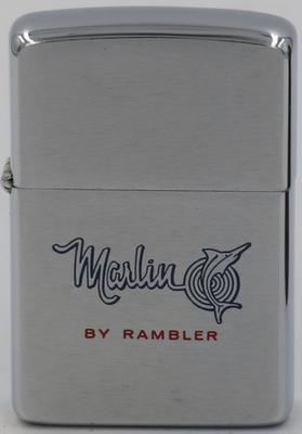 1965 Zippo advertising the Marlin by Rambler. The Marlin was produced by the American Motor Corporation from 1965 to 1967