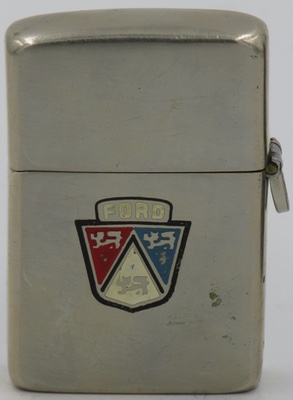 1946-49 loss-proof Zippo with a Ford logo engraving. Not shown is signature of Harry W. Roberts on the reverse