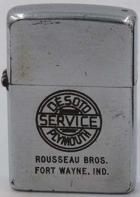 1953 Zippo for DeSoto and Plymouth Service Rosseau Bros., Fort Wayne, Indiana