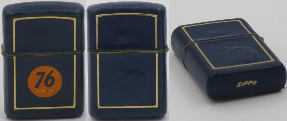"""This is a full-leather covered 1952 Zippo with gold-leaf borders and """"Zippo"""" engraved in gold on the bottom. It carries the """"Union 76"""" logo. These leather Zippos were produced from 1949-54 and were available in """"Genuine Hand Burnished Calfskin"""" or """"Imported English Morocco"""""""