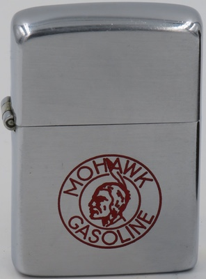 1946 Zippo with a Mohawk Gasoline logo. Mohawk was an independent chain of gas stations in Canada before acquired by Husky in 1998.