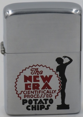 """1950 Zippo with character graphic for New Era New Era Potato Chips """"Scientifically Processed"""""""