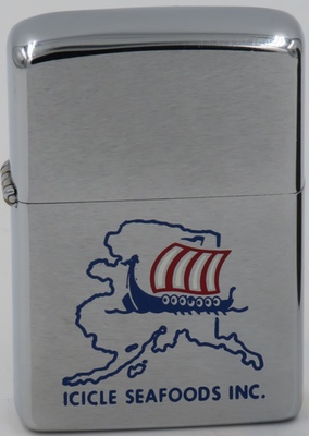 1978 Zippo with graphic of Viking ship on Alaska map - Icicle Seafoods, Inc
