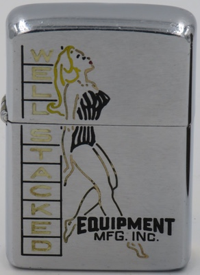 "1953 Zippo with a somewhat provocative graphic of a ""well stacked"" woman in a swimsuit"