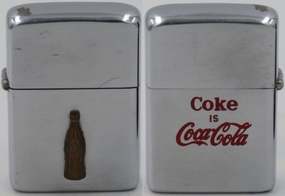 """1952-53 two-sided Zippo with attached bottle on one side and """"Coke is Coca Cola"""" on the other"""