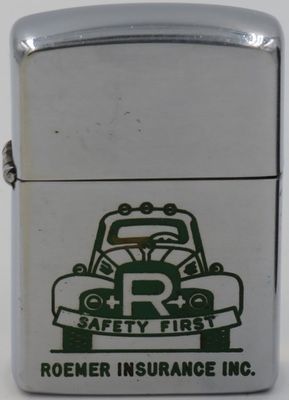 """This is a 1953 Zippo with a Roemer Insurance truck with a """"Safety First"""" bumper"""
