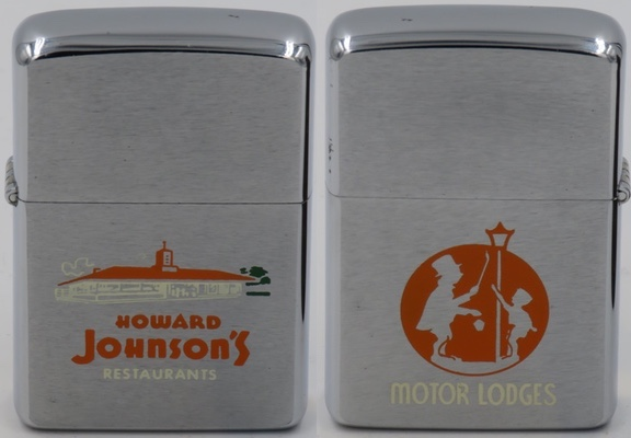 1954 Zippo for Howard Johnson's, an American chain of hotels and motels located primarily throughout the United States and Canada. It was also once the largest restaurant chain in the U.S. throughout the 1960s and 1970s, with more than 1,000 combined company-owned and franchised outlets. Howard Johnson hotels and motels are now part of Wyndham Worldwide
