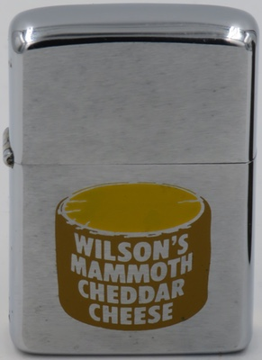 1968 Zippo with a graphic of Wilson's Mammoth Cheddar Cheese