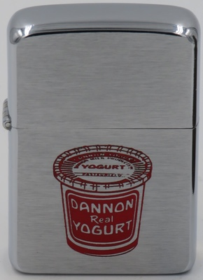 1957 Zippo with a graphic of a Dannon Yogurt that first was produced in 1942