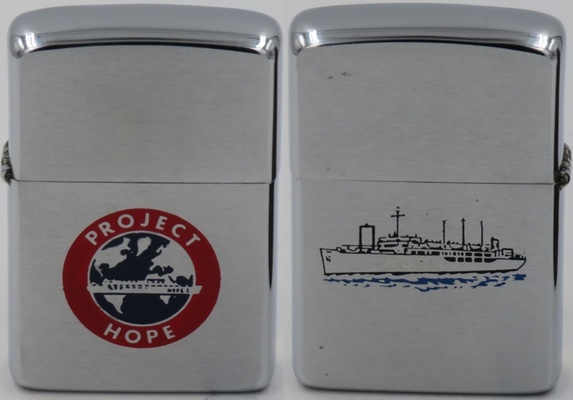 1967 Zippo for Project HOPE.Project HOPE is an international health care organization founded in the United States in 1958. Its most visible aspect was the SS HOPE, the first peacetime hospital ship
