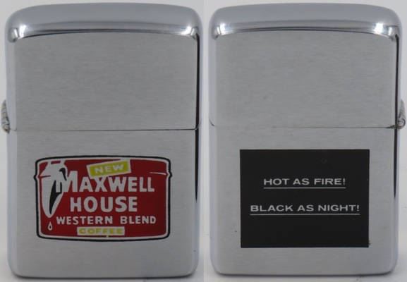 """1960 two-sided Zippo advertising Maxwell House Western Blend, """"Hot as Fire! Black as Night!"""""""