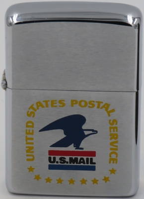 """1971 Zippo with the logo for the United States Postal Service .The """"standing"""" eagle was adopted as the Postal Service's official seal in 1970.Eagles are powerful, stately, determined and undeniably American, which reflects the spirit of the Postal Service and its employees. The logo was replaced in 1993."""