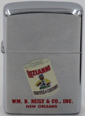 1959 with a graphic of a can of Luzianne Coffee & Chickory. Luzianne began life in 1902, when William B. Reily, who owned a wholesale grocery business, moved from Monroe, Louisiana to New Orleans. In New Orleans, he changed his emphasis to coffee and tea. By 1932, the Luzianne brand was established throughout the Southeast, as was its reputation for selling the region's finest coffee and tea.
