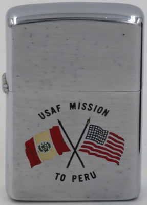 1960 Zippo for USAF Mission to Peru with a graphic of the American and Peruvian crossed flags,