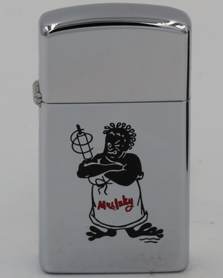 "1958 slim Zippo with a ferocious looking ""Mrs. Inky"""
