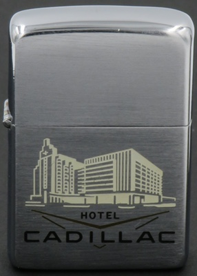 1957 Zippo with a graphic of the art dec Hotel Cadillac in Miami Beach,Florida. It is on the U.S.National Register of Historic Places.