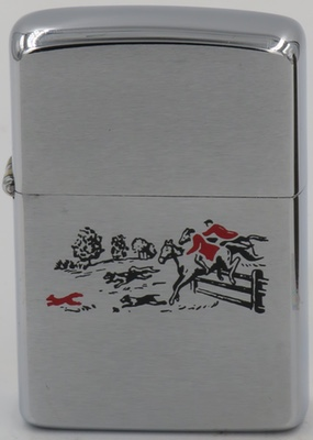 1964 prototype Zippo with a fox-hunt design. Fox-hunting, which also depends on the use of dogs, was banned in the United Kingdom in 2004
