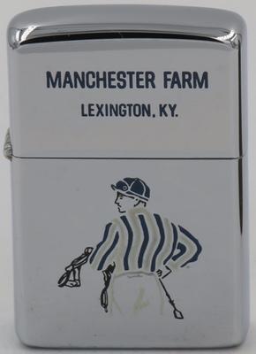 1966 high-polish Zippo with the image of a jockey for Manchester Farm in Lexington, Kentucky