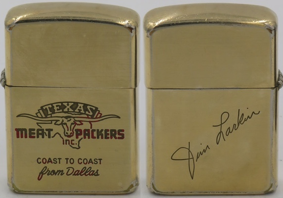 "1960's 10K Gold Filled Zippo for ""Texas Meat Packers - Coast to Coast from Dallas"". The reverse has the signature of Jim Larkin engraved"