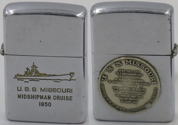 1950 USS Missouri Zippo commemorating the 1950 Midshipman Cruise