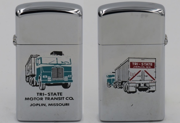 Two-sided 1977 slim Zippo for Tri-State Motor Transit Co. of Joplin, Missouri. Interesting three-color design, with one side showing the front of a truck and the reverse side showing the back