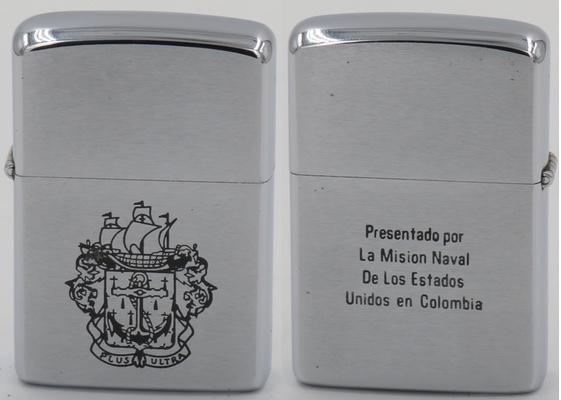 """1965 Zippo presented by the US Naval Mission in Colombia. """"Presentado por La Mision Naval De Los Estados Unidos en Colombia"""""""