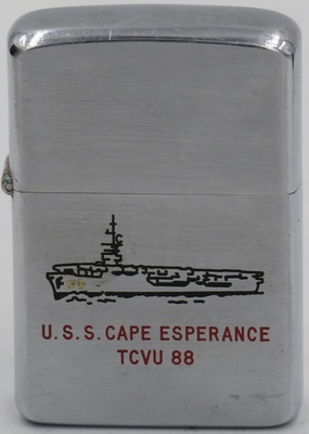 1958 Zippo for USS Cape Esperance an escort carrier of the United States Navy. She was launched on 3 March 1944 by Kaiser Co., Inc., Vancouver, Washington