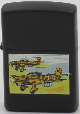 1993 Zippo with the image from the Zippo Vintage Aircraft Series of two German Junkers Ju87 Stuka divebombers against a colorful background on a black matte finish. The production model Zippos with this design is the two yellow planes against a light gray or high-polish case.