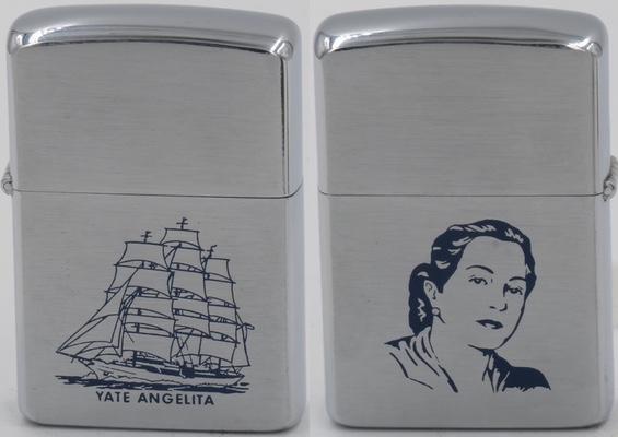 """1958 Zippo with the image of Rafael Trujillo's third wife Maria de los Angeles Martínez Alba, also known as """"la españolita"""""""