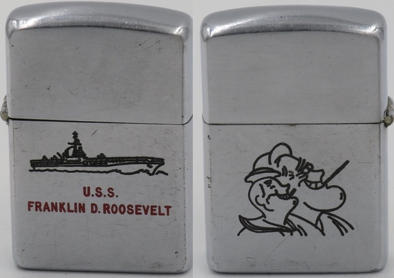 1949-50 Zippo for USS Franklin D Roosevelt. The reverse is engraved with a catoon looking image of a smiling President Franklin Roosevelt and sailor