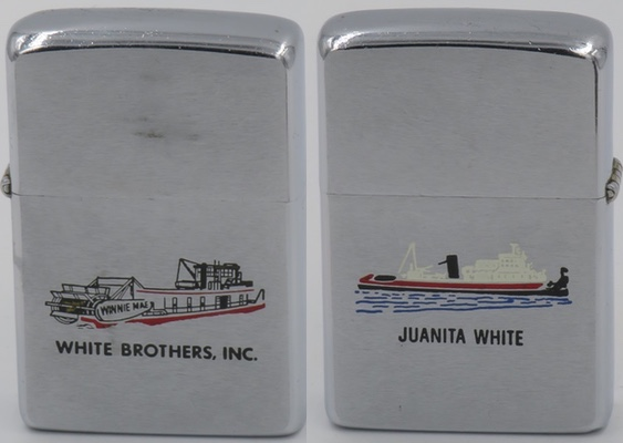 """1978 Zippo for White Brothers Inc with sternwheeler """"Winnie Mae"""" on the front and a tugboat """"Juanita White"""" on the back. Winnie Mae, built in 1938, still looks good today"""