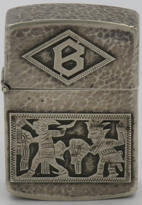 Unmarked 1950's hammered Guatemalan Sterling lighter  with attached Mayan design and the letter B on the lid