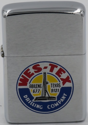 1975 Zippo with logo of Wes-Tex Drilling Company,one of 31 Water Well Drilling & Service in Abilene, TX