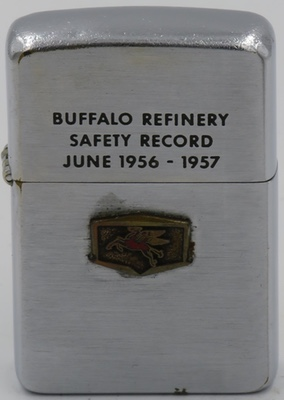 """1957 Zippo with an attached Mobil """"Pegasus"""" logo. The lid reads """"Buffalo Refinery Safety Record June 1956-1957"""""""