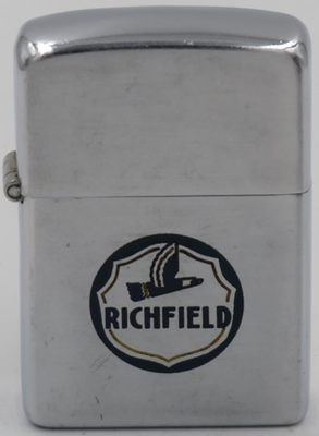 """1946 Zippo for Richfield with initials """"JS"""" on reverse (not shown). Richfield Oil was founded in Southern California in 1905 and merged with Atlantic Refining in 1966 to become ARCO"""