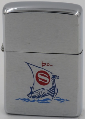 """1977 Zippo with Viking Ship with an """"S"""" logo on the sail"""