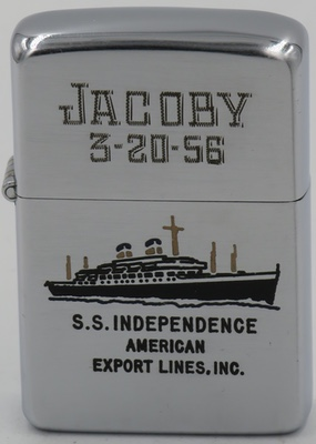 """This 1955 Zippo has an engraving of the SS Independence of American Export Lines for """"Jacoby 3-20-55"""". It is one of the oldest and most storied ocean liners still afloat."""