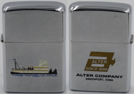 1974 Zippo with a tugboat for Alter Company, of Davenport, Iowa