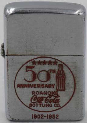 1952 Zippo celebrating Coca-Cola's Roanoke bottling plant's 50th Anniversary