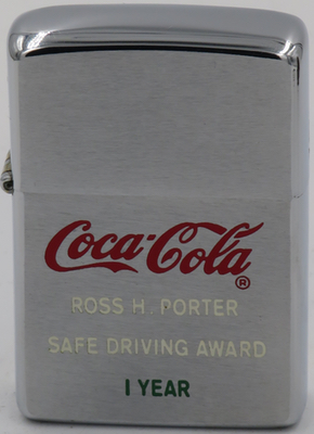 1974 Zippo awarded by Coca-Cola as a safe driving award to Ross H. Porter