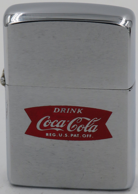 1965 Zippo with the Drink Coca-Cola fishtail logo introduced in 1958