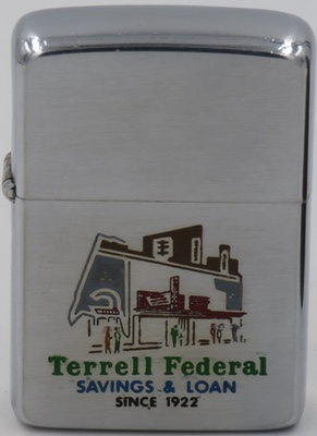 1963 Zippo with a graphic of the Terrell Federal Federal Savings & Loan building in Terrell, Texas operating as such through 1999