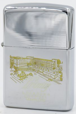 1966 Zippo with a line-drawn graphic of Trinity Lutheran Hospital in Kansas City Missouri