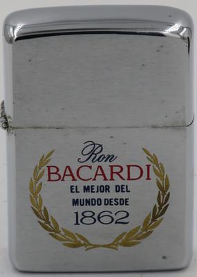 "1968 Zippo reads ""Ron Bacardi - el mejor del mundo desde 1862"". founded by Don Facundo Bacardi Masso in Cuba,Bacardi based in Bermuda today"