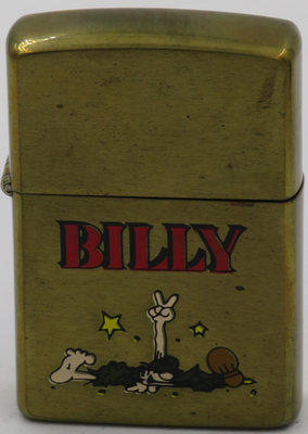 "1991 Zippo on brass case with prototype design of ""Billy"" giving a two-finger salute."