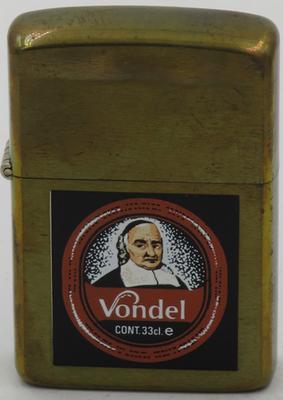 1987 prototype brass Zippo for Vondel, a Belgian brown ale