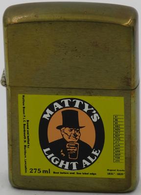 1987 prototype brass Zippo with advertising for Matty's Light Ale, Blackburn, Lancashire.