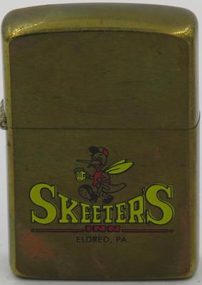 1988 prototype brass Zippo advertising Skeeters Inn in Eldred, Pennsylvania. Eldred has a population  of 868